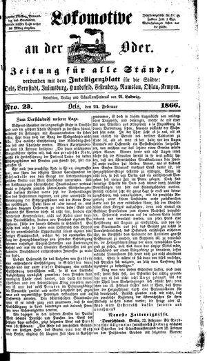 Lokomotive an der Oder vom 24.02.1866