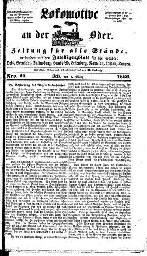 Lokomotive an der Oder vom 01.03.1866