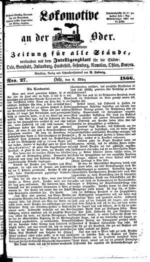 Lokomotive an der Oder vom 06.03.1866