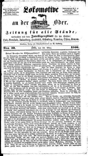 Lokomotive an der Oder on Mar 20, 1866
