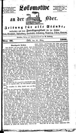 Lokomotive an der Oder vom 27.03.1866