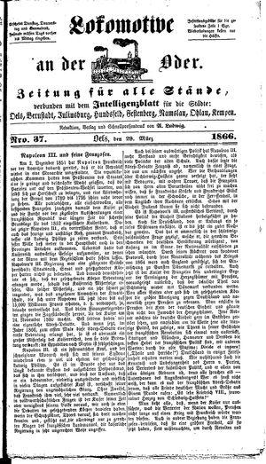 Lokomotive an der Oder on Mar 29, 1866