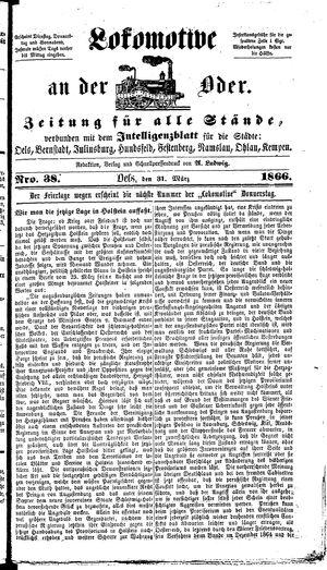 Lokomotive an der Oder on Mar 31, 1866