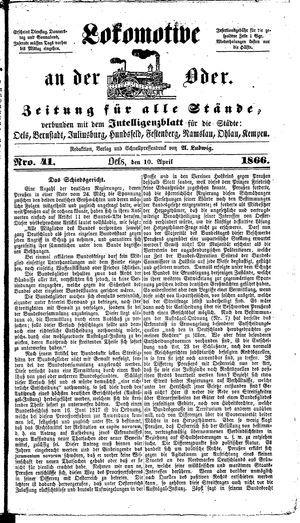 Lokomotive an der Oder vom 10.04.1866