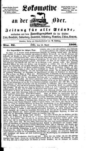 Lokomotive an der Oder vom 12.04.1866