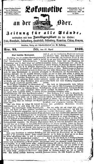 Lokomotive an der Oder on Apr 17, 1866