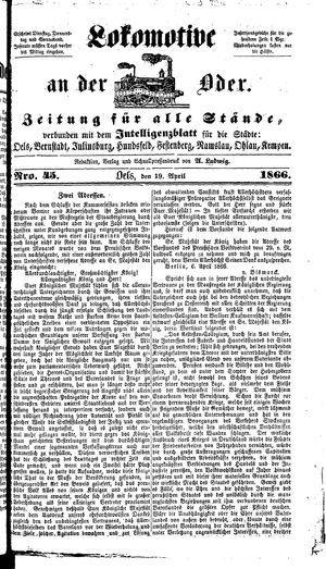 Lokomotive an der Oder vom 19.04.1866
