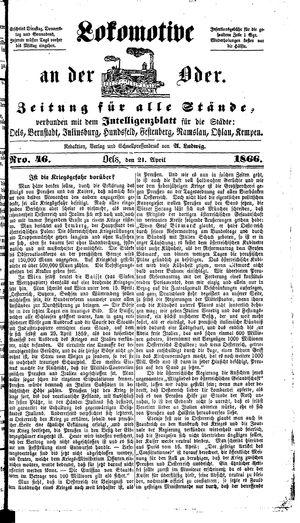 Lokomotive an der Oder vom 21.04.1866