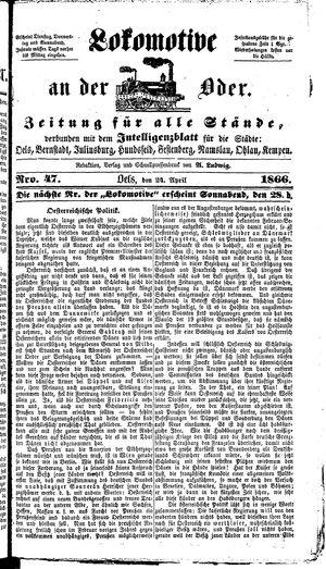 Lokomotive an der Oder vom 24.04.1866