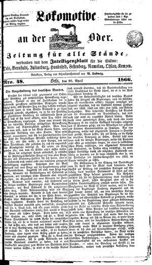 Lokomotive an der Oder vom 28.04.1866