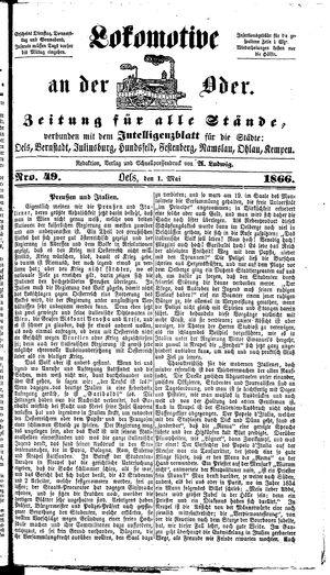 Lokomotive an der Oder vom 01.05.1866