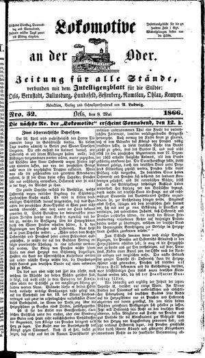 Lokomotive an der Oder vom 08.05.1866