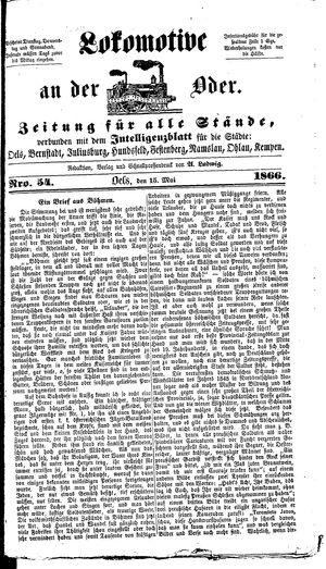 Lokomotive an der Oder vom 15.05.1866