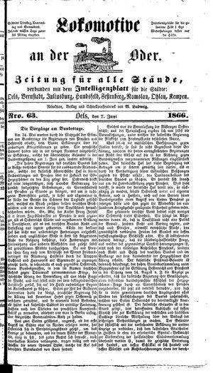 Lokomotive an der Oder vom 07.06.1866
