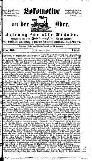 Lokomotive an der Oder vom 12.06.1866