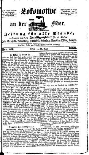 Lokomotive an der Oder vom 19.06.1866