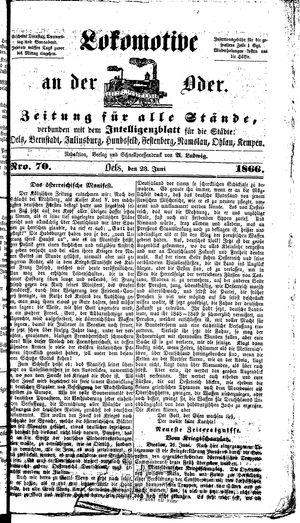 Lokomotive an der Oder vom 23.06.1866