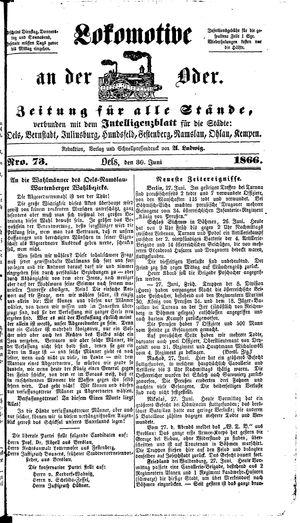 Lokomotive an der Oder vom 30.06.1866