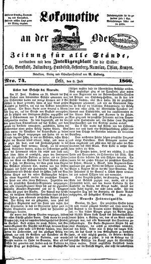 Lokomotive an der Oder vom 03.07.1866