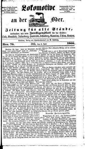 Lokomotive an der Oder vom 05.07.1866