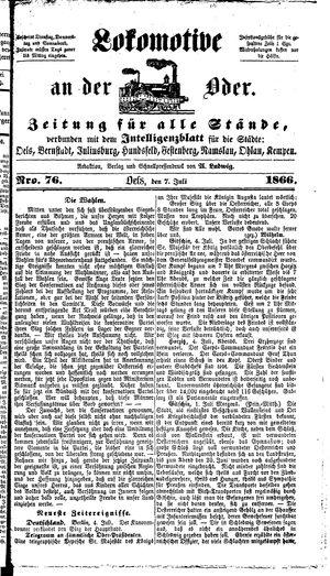 Lokomotive an der Oder vom 07.07.1866