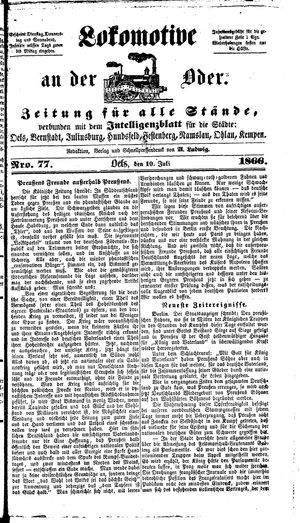 Lokomotive an der Oder on Jul 10, 1866