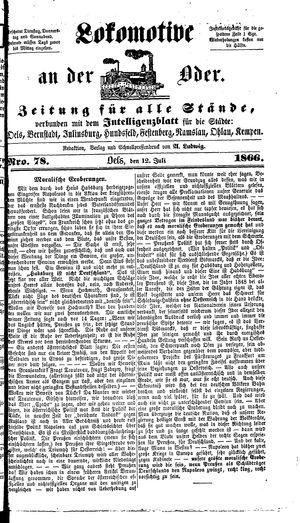 Lokomotive an der Oder vom 12.07.1866