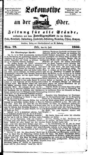 Lokomotive an der Oder on Jul 14, 1866