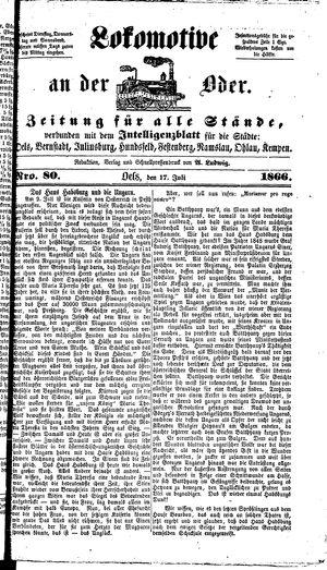 Lokomotive an der Oder vom 17.07.1866
