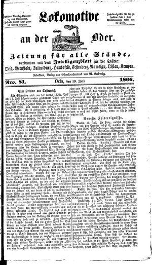 Lokomotive an der Oder vom 19.07.1866