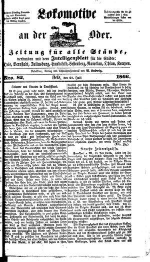 Lokomotive an der Oder vom 21.07.1866