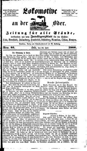 Lokomotive an der Oder vom 24.07.1866
