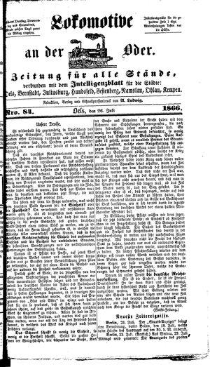 Lokomotive an der Oder vom 26.07.1866