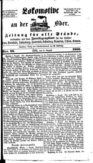 Lokomotive an der Oder vom 04.08.1866
