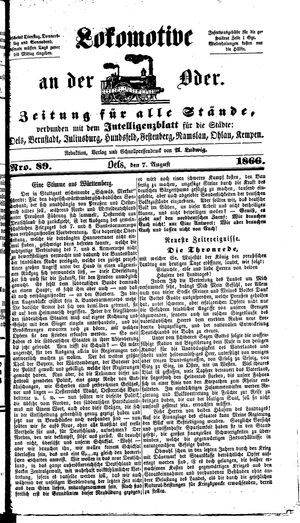Lokomotive an der Oder vom 07.08.1866