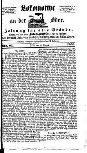 Lokomotive an der Oder vom 11.08.1866