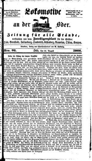 Lokomotive an der Oder vom 14.08.1866