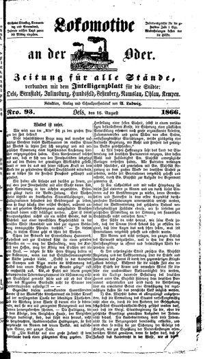 Lokomotive an der Oder vom 16.08.1866