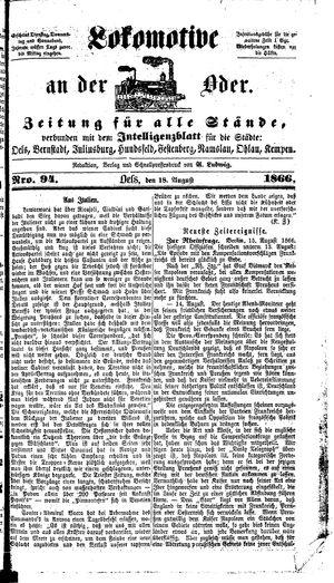Lokomotive an der Oder vom 18.08.1866