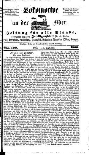 Lokomotive an der Oder vom 01.09.1866