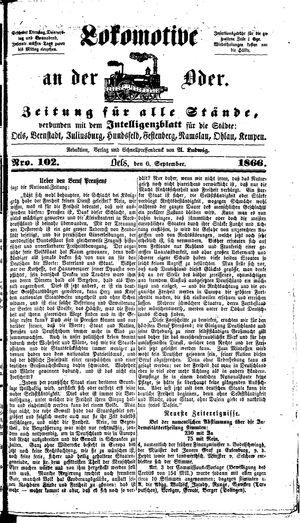 Lokomotive an der Oder vom 06.09.1866
