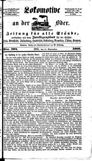 Lokomotive an der Oder on Sep 11, 1866