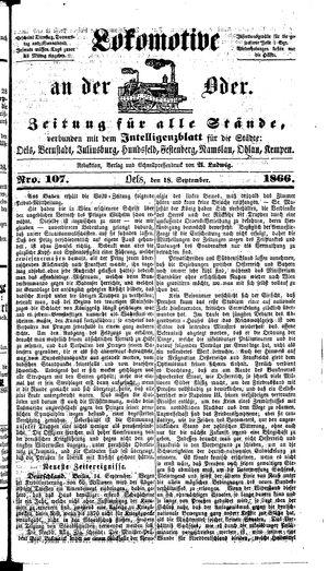 Lokomotive an der Oder on Sep 18, 1866