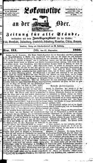 Lokomotive an der Oder on Sep 27, 1866