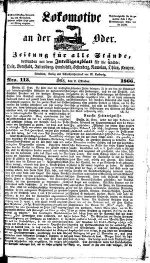 Lokomotive an der Oder vom 02.10.1866