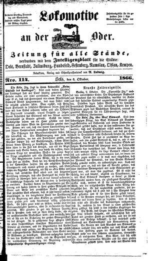 Lokomotive an der Oder vom 04.10.1866