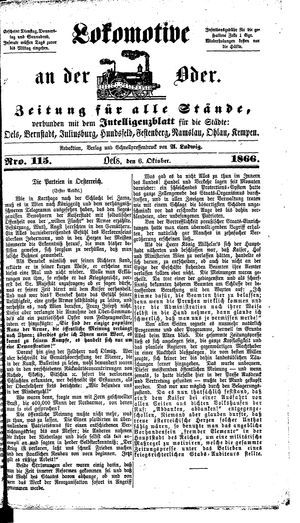 Lokomotive an der Oder vom 06.10.1866