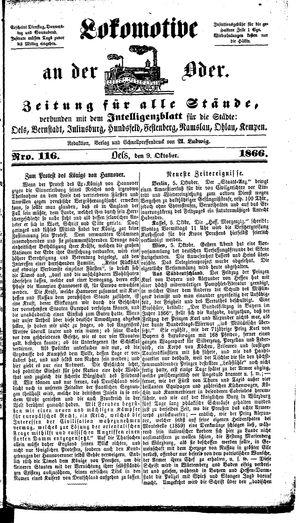 Lokomotive an der Oder vom 09.10.1866