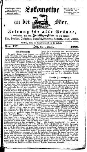 Lokomotive an der Oder vom 11.10.1866