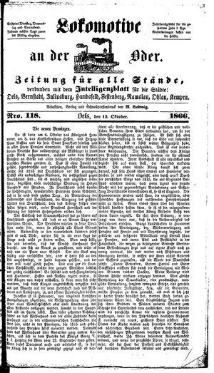 Lokomotive an der Oder vom 13.10.1866